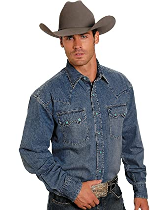 ca60aa45e16 Stetson Men s Denim Snap Western Shirt at Amazon Men s Clothing store