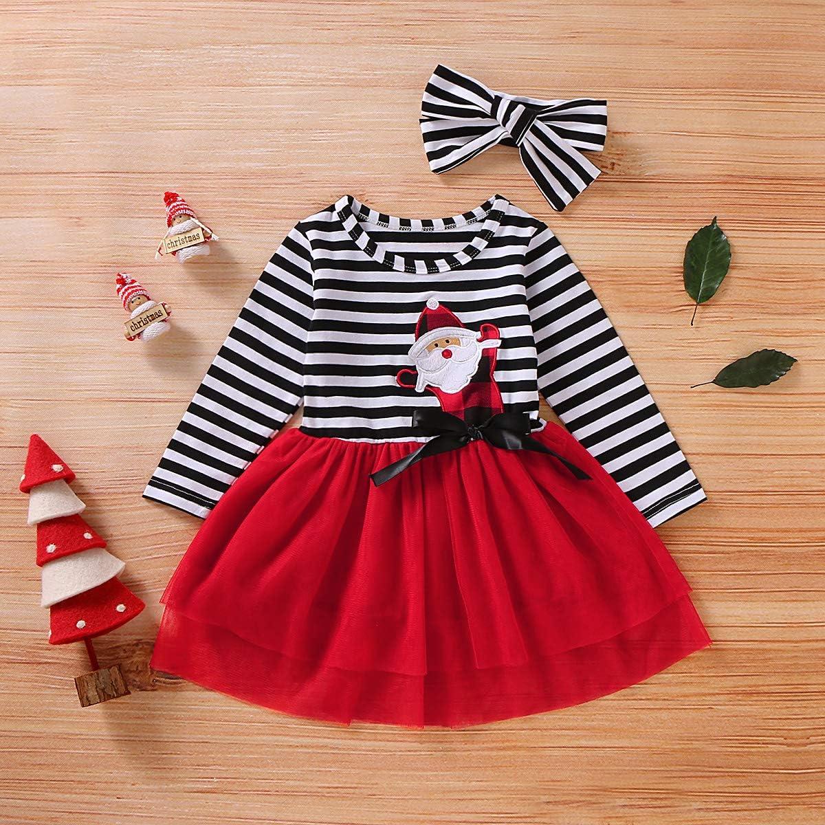 puseky Bambino Ragazze del Bambino di Ringraziamento di Natale della Banda del Vestito della Maglia Tutu Abito da Principessa con Archetto