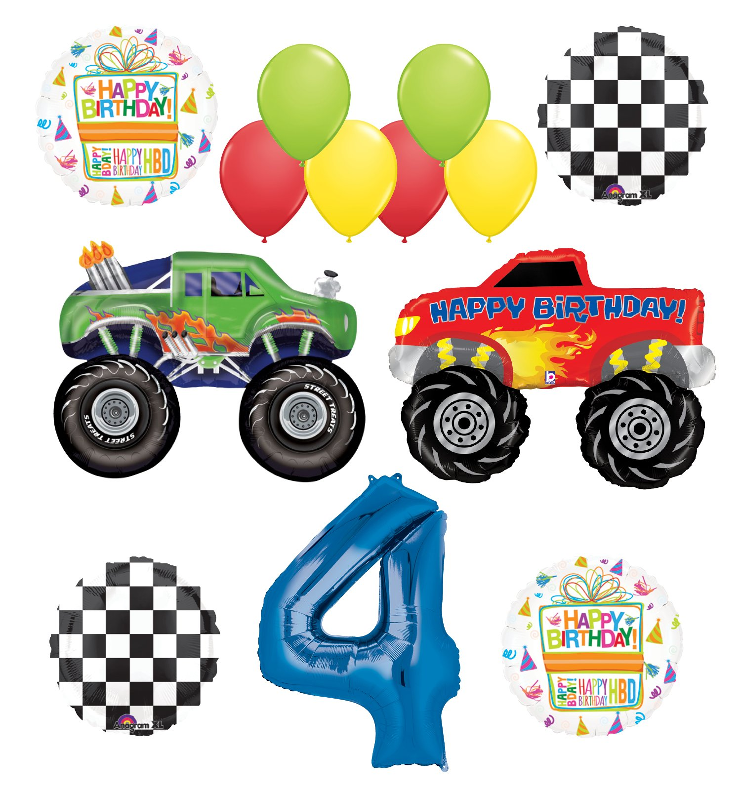 Monster Truck Party Supplies 4th Birthday Balloon Bouquet Decorations