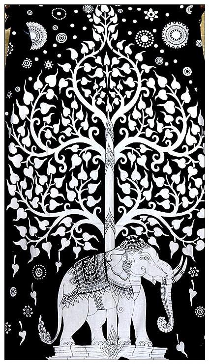 Hermoso Blanco Y Negro árbol De La Vida Tapestry Elefante Indio