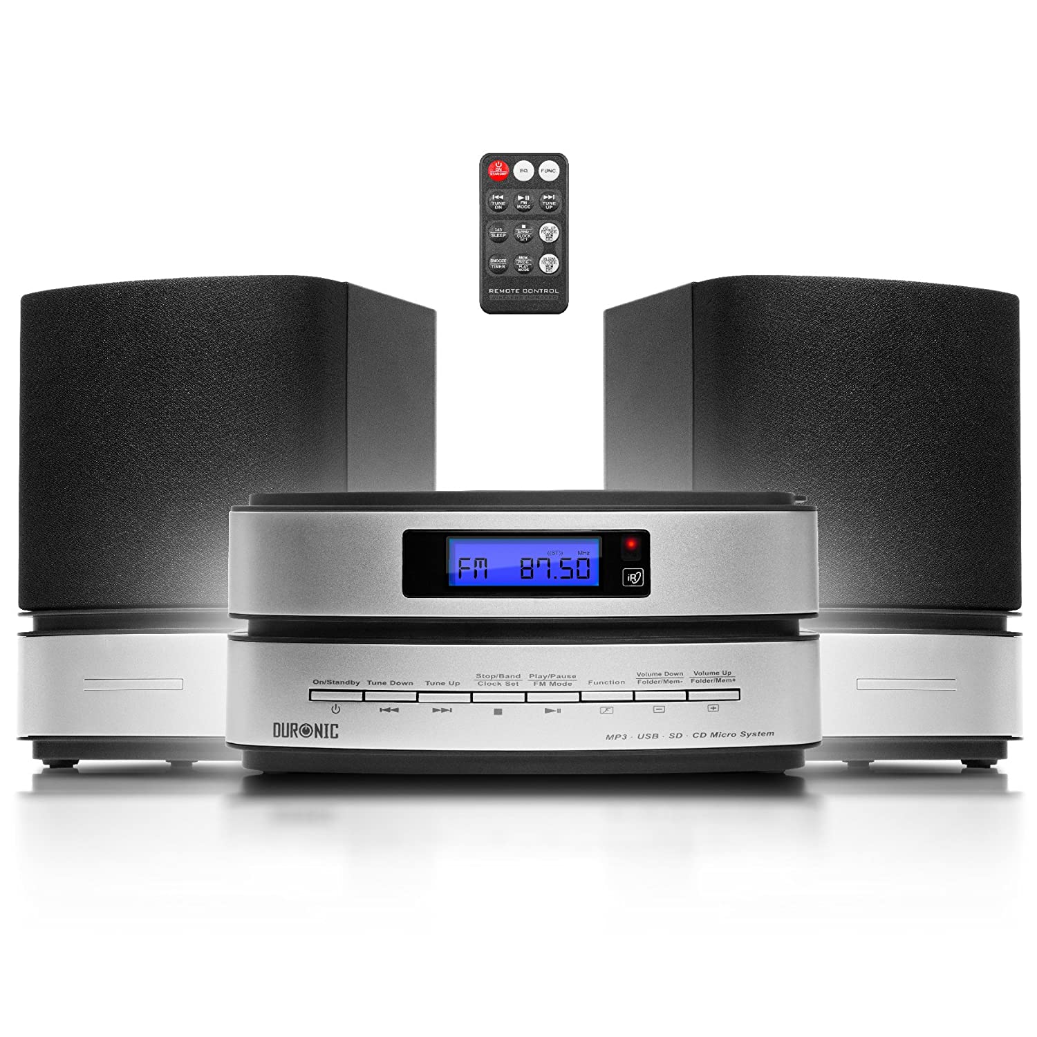 Duronic Micro Hi-Fi RCD144 CD Audio System Player |Speakers|MP3 CD|FM Radio| USB/SD Card Reader|Remote Control|AUX-In to Connect to Smartphones