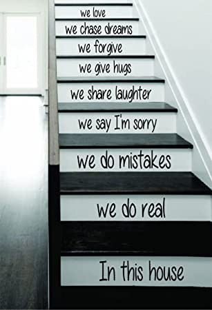 In This House Stairs Decal Sticker Wall Vinyl Art Home Family