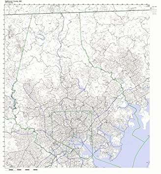 Amazon Com Baltimore County Maryland Md Zip Code Map Not Laminated