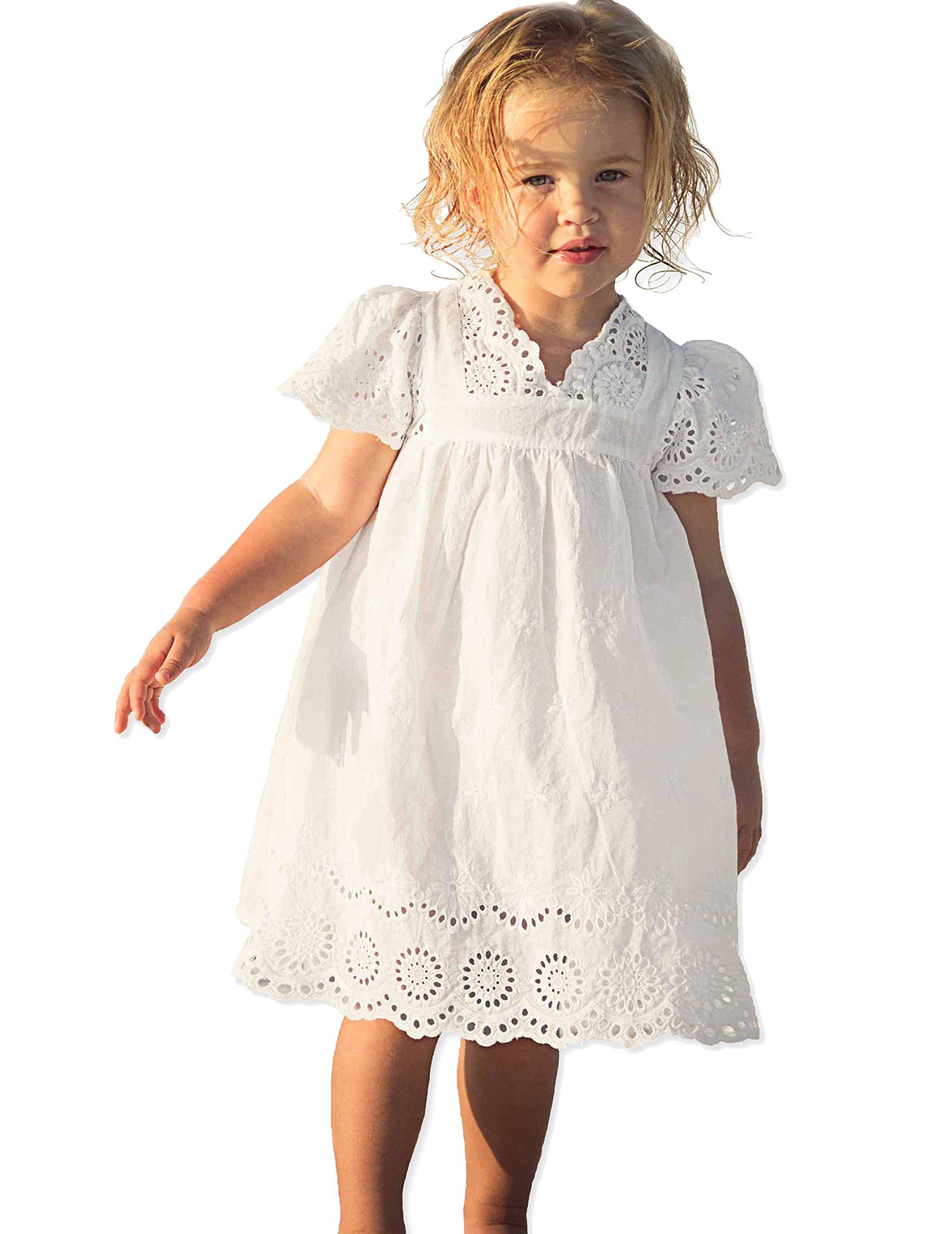 VYU White Cotton Dress Girls Flutter Short Sleeve Flower Princess Dress Size, 10, Tag size 140