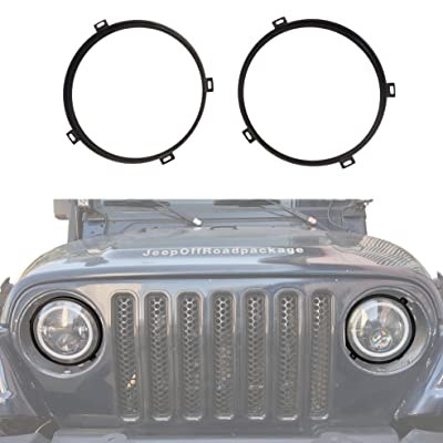 u-Box Jeep Wrangler 7 inch Headlight Mounting Bracket Retainer Ring Mount in Black for 1997-2006 Jeep Wrangler TJ: Automotive