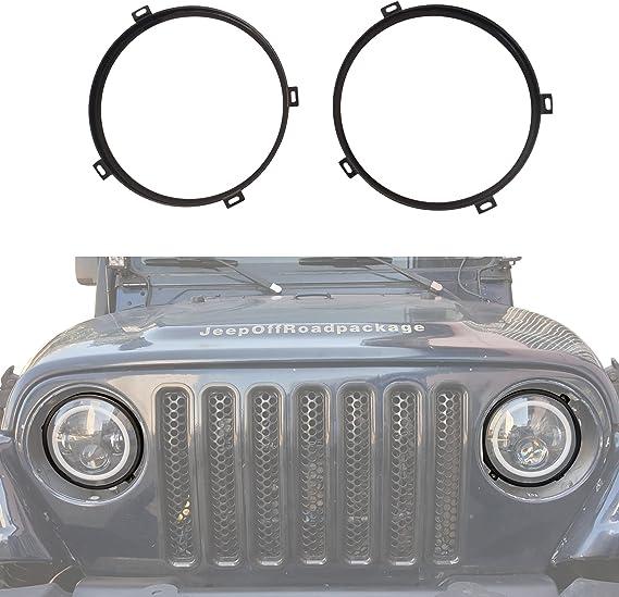 JeCar 7 inch Round Headlight Mounting Bracket Ring Headlamp Bezel for 1997-2006 Jeep Wrangler TJ