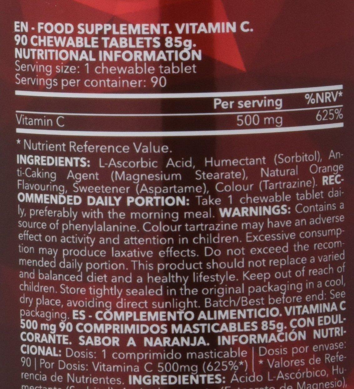 Prozis Vitamina C Comprimidos Masticables, Sabor Naranja - 500 mg, 90 Comprimidos: Amazon.es: Salud y cuidado personal