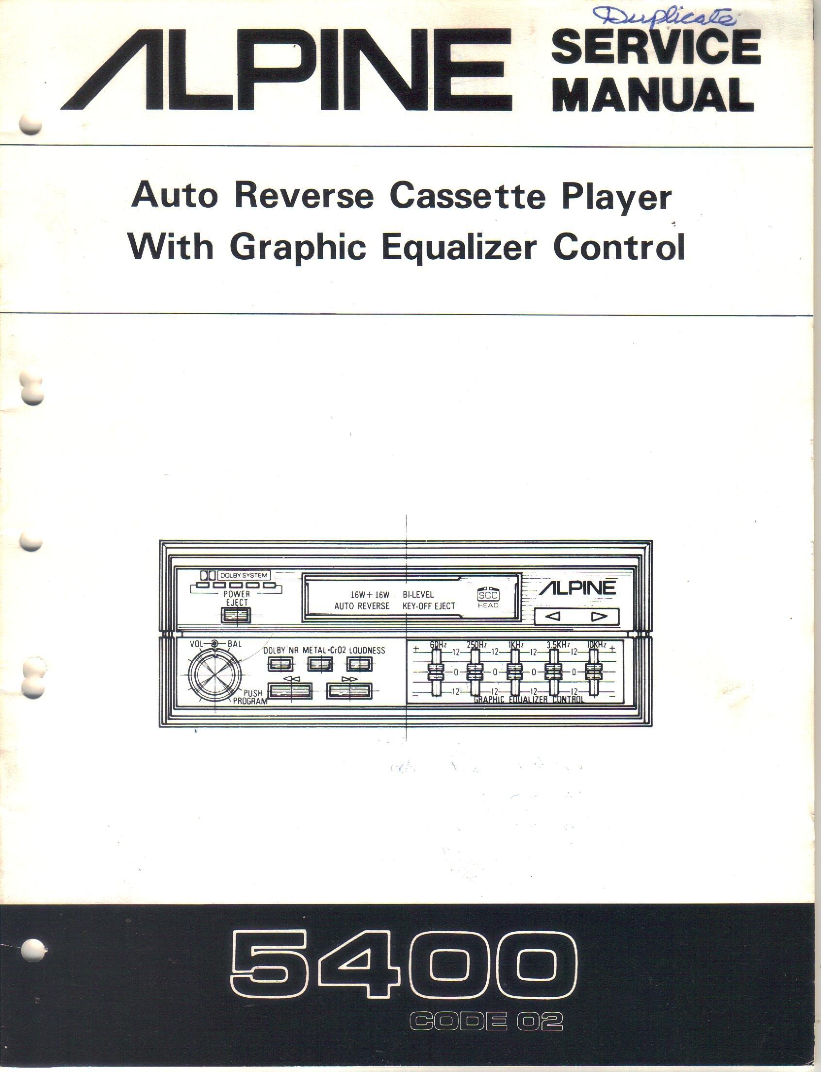alpine 5400 auto reverse cassette player with graphic equalizer rh amazon com  alpine 3210 equalizer wiring diagram