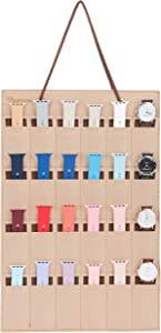 PACMAXI Watch Band Hanging Storage Organizer, Watch Display Storage Roll Holds 24 Watches Expandable for Most Sizes of Watch Bands,Organizer for Watch Band Straps Accessories (Beige)