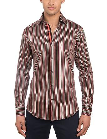85f5ae8955 HAWES & CURTIS Mens Curtis Orange & Green Multi Stripe Slim Fit Shirt -  Single Cuff