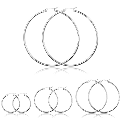 cab1864e9c48e ORAZIO 4 Pairs Large Hoop Earrings for Women and Girls Stainless ...