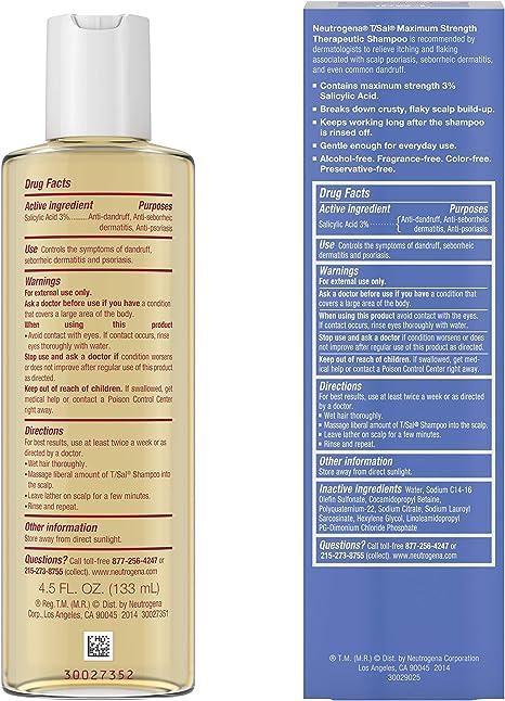 Neutrogena T Sal Therapeutic Shampoo Scalp Build Up Control 4 5 Oz Amazon Ca Beauty