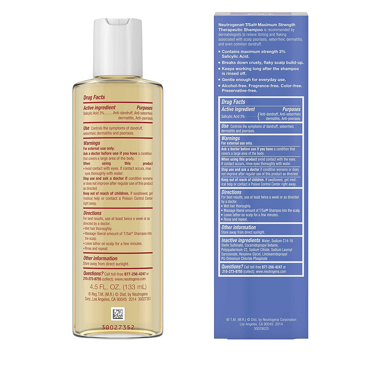 Amazon Com Neutrogena T Sal Therapeutic Shampoo Scalp Build Up Control 4 5 Oz Hair Shampoos Beauty