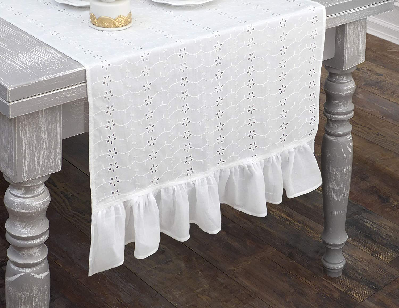 Napperon Blanc AT17 Chemin de Table Brod/é 100/% Coton 50x150 Volant//Dentelle Sangallo Chemin de Table avec Broderie Shabby Chic et Romantique