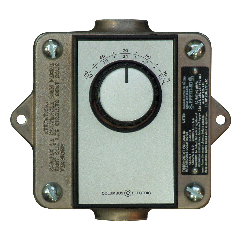 TPI EPETD8D Series EPET Hazardous Location Thermostat for Single Phase, DPDT, Bi-Metal, 22 Amps, 120-277V Supply Voltage, 50° - 90°F
