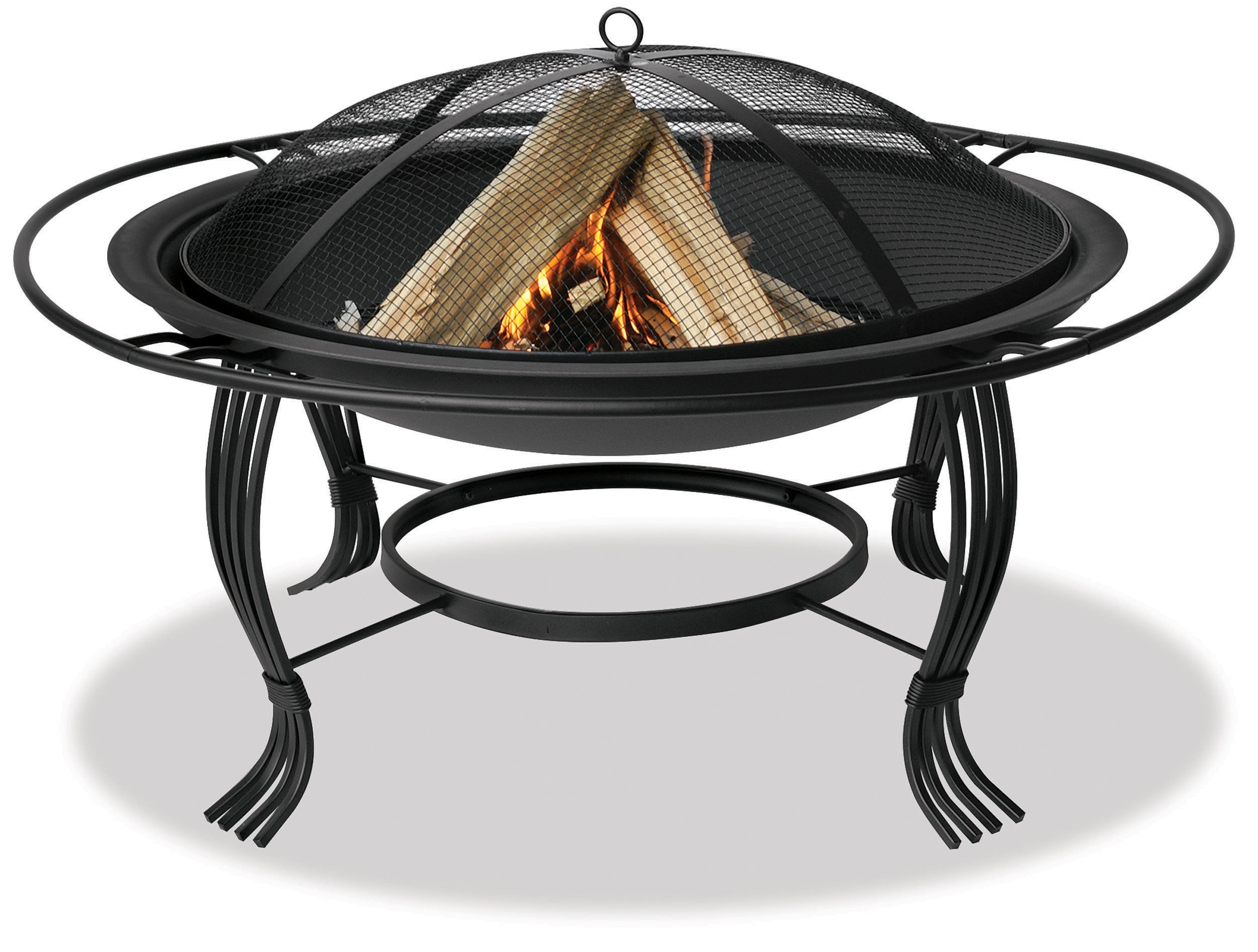 "Endless Summer, WAD1050SP, 34.6 in.Diameter Black Firepit with Outer Ring - 34.6"" diameter bowl Wood burning for convenient heating Spark guard included for safety - patio, fire-pits-outdoor-fireplaces, outdoor-decor - 81cYYDK7XzL -"
