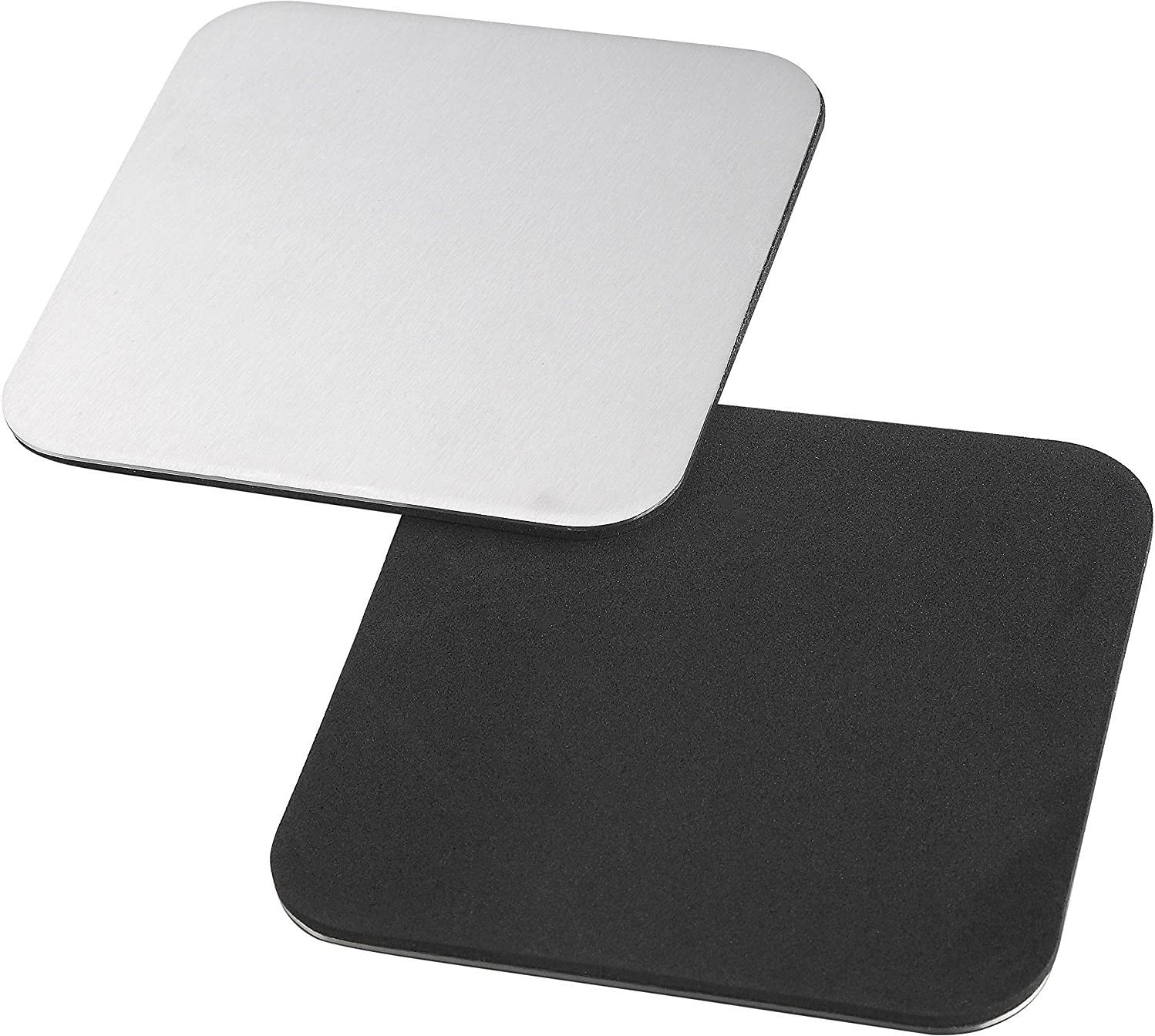 Pro Chef Kitchen Tools Square Coasters for Drinks Bar Accessories Coaster Set with Holder for Coffee Table Decor Stainless Steel Drink Mats Protect Your Furniture from Beer Mugs and Wine Glasses