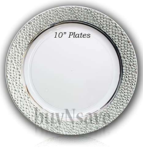 buyNsave Clear with Silver Heavyweight Plastic Elegant Disposable Plates Wedding Party Elegant Dinnerware Hammered  sc 1 st  Amazon.com & Amazon.com: buyNsave Clear with Silver Heavyweight Plastic Elegant ...