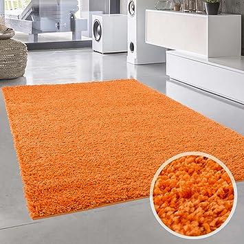 carpet city Shaggy Tapis à Poils Longs uni rectangulaire rectangulaire pour  Salon et Chambre à Coucher avec Poils Doux en Vert, Mocca, Orange, Rose, ...