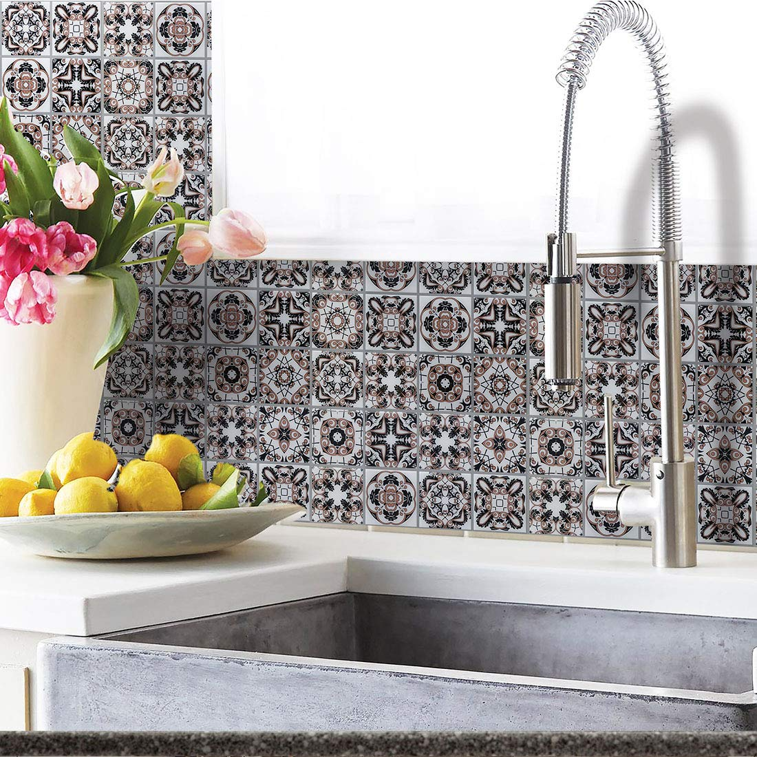 Hue Decoration Blue Moroccan Peel And Stick Tile Backsplash Anti