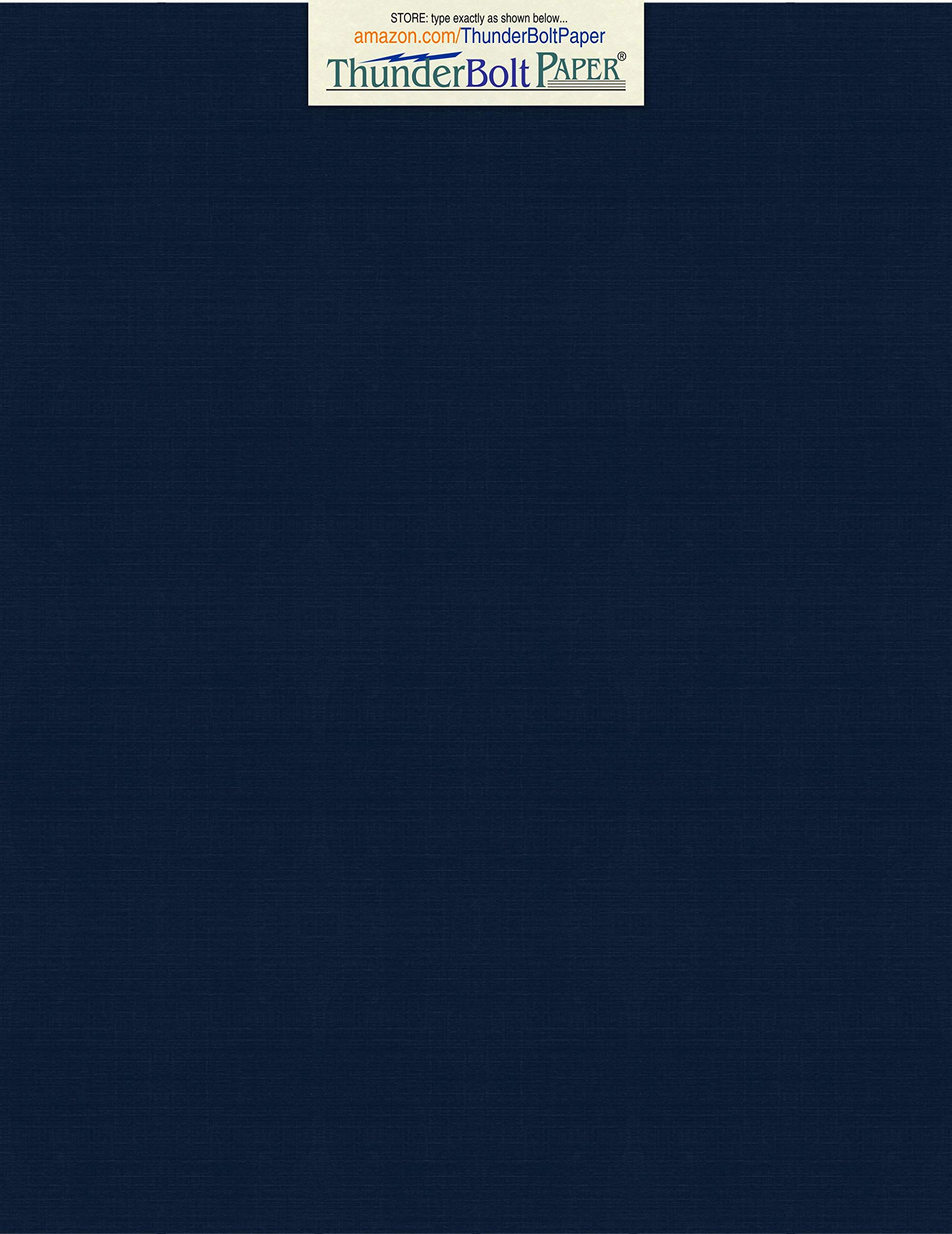 150 Dark Navy Blue Linen 80# Cover Paper Sheets - 8.5'' X 11'' (8.5X11 Inches) Standard Letter|Flyer Size - 80 lb/Pound Card Weight - Fine Linen Textured Finish - Deep Dye Quality Cardstock by ThunderBolt Paper