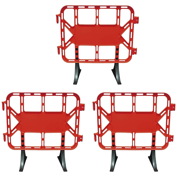 Valla de plástico obra peatonal en color rojo, valla con patas extraíbles de 1 metro (3- Vallas)