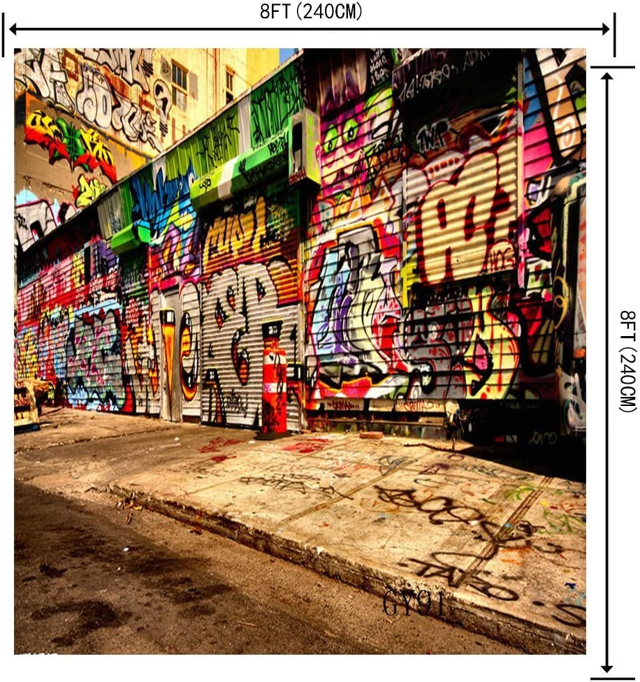 LB 8x8ft Graffiti Poly Fabric Customized Photography Backdrop Background Studio Prop GY91