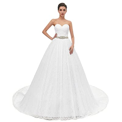 Beautyprom Women's Ball Gown Lace Bridal Wedding Dresses at Women's Clothing store