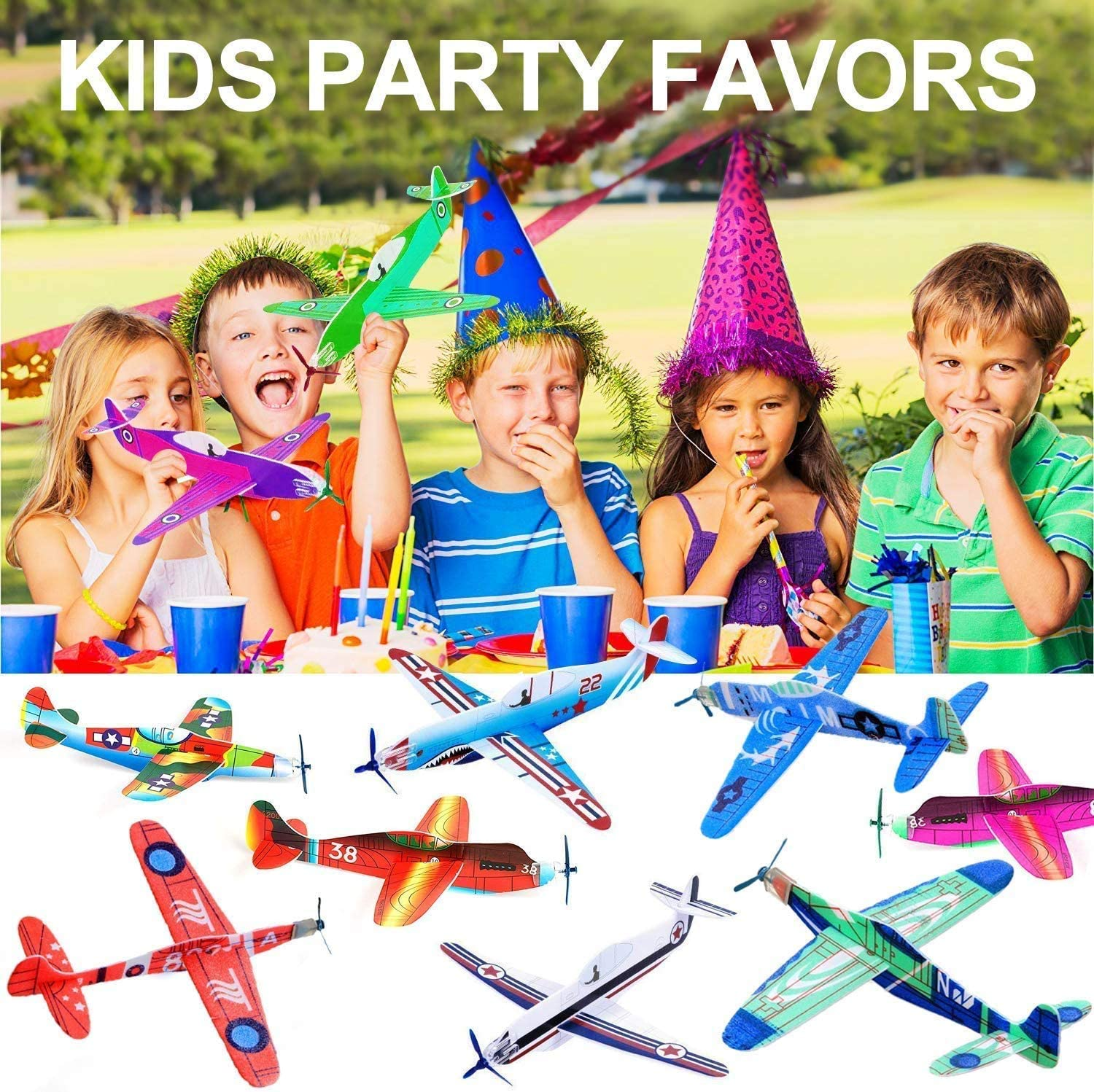 36 Pack Flying Glider Planes 8 inch Foam Airplane Novelty Flying Toys for Boys Girls Easter Gifts for Kids Classroom Rewards Prizes Caht Foam Air Planes Fun Gift for Kids Birthday Party Favor Supplies