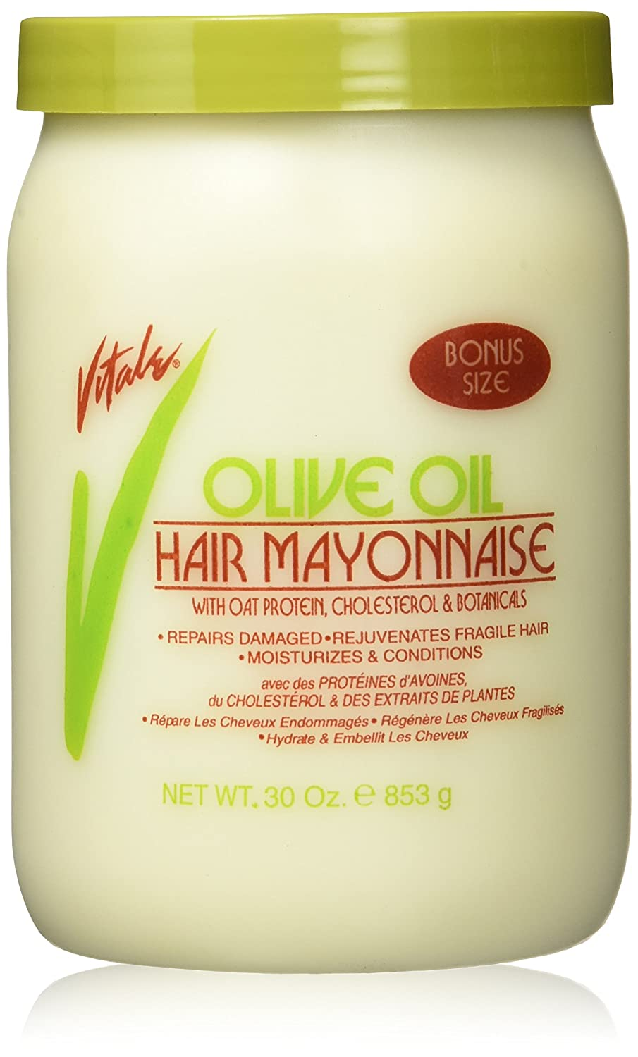 Vitale Olive Oil Hair Mayonnaise 30oz with Oat & Egg Protein and Vitamins - Good on Color & Thermal Treated Hair - for Dry & Damaged Scalp Men, Women & Kids -Moisturize and Condition Atlas Ethnic 0743690043338