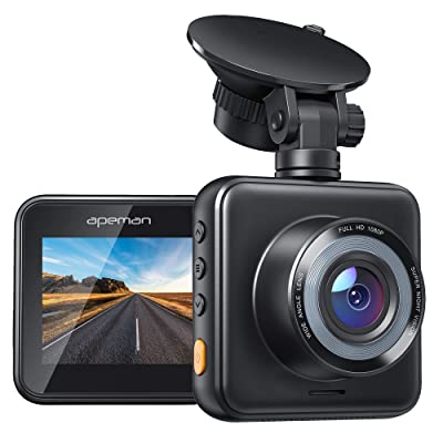 APEMAN Mini Dash Cam 1080P Full HD Dash Camera for Cars Recorder Super Night Vision, 170° Wide Angle, Motion Detection, Parking Monitoring, G-Sensor, Loop Recording: Electronics