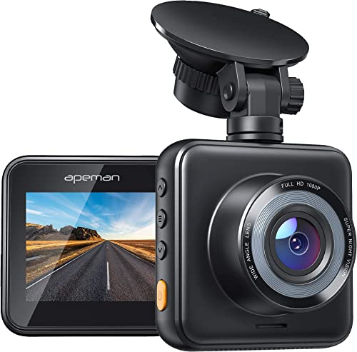 APEMAN Mini Dash Cam 1080P Full HD Dash Camera for Cars Recorder Super Night Vision, 170 Wide Angle, Motion Detection, Parking Monitoring, G-Sensor, Loop Recording