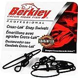 Berkley Cross-Lok Snap/Swivels Size 12 Tackle, 30 lb Breaking Strength, Black, Per 144
