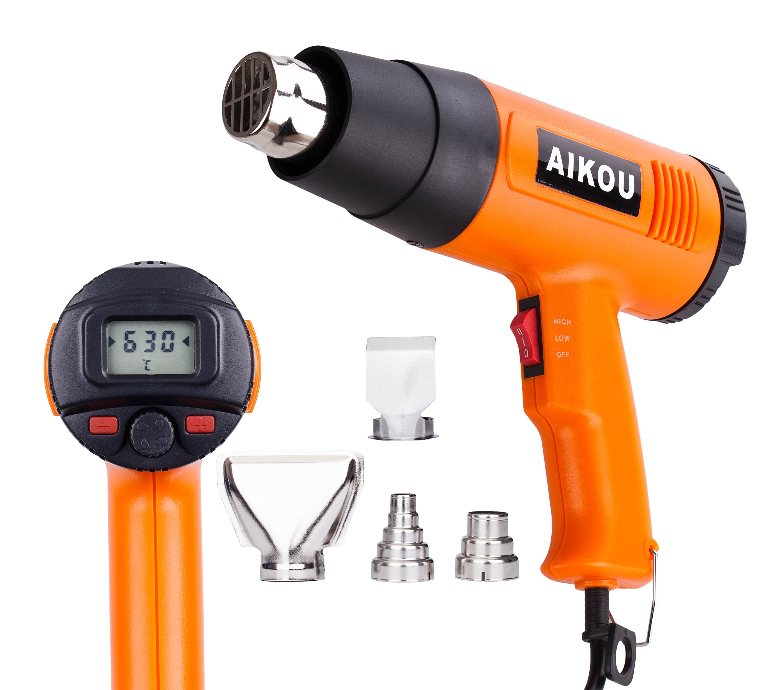 AIKOU Adjustable Temperature Hot Air Heat Gun with Rear Digital Display Fast Heating Blower Kits (Orange)