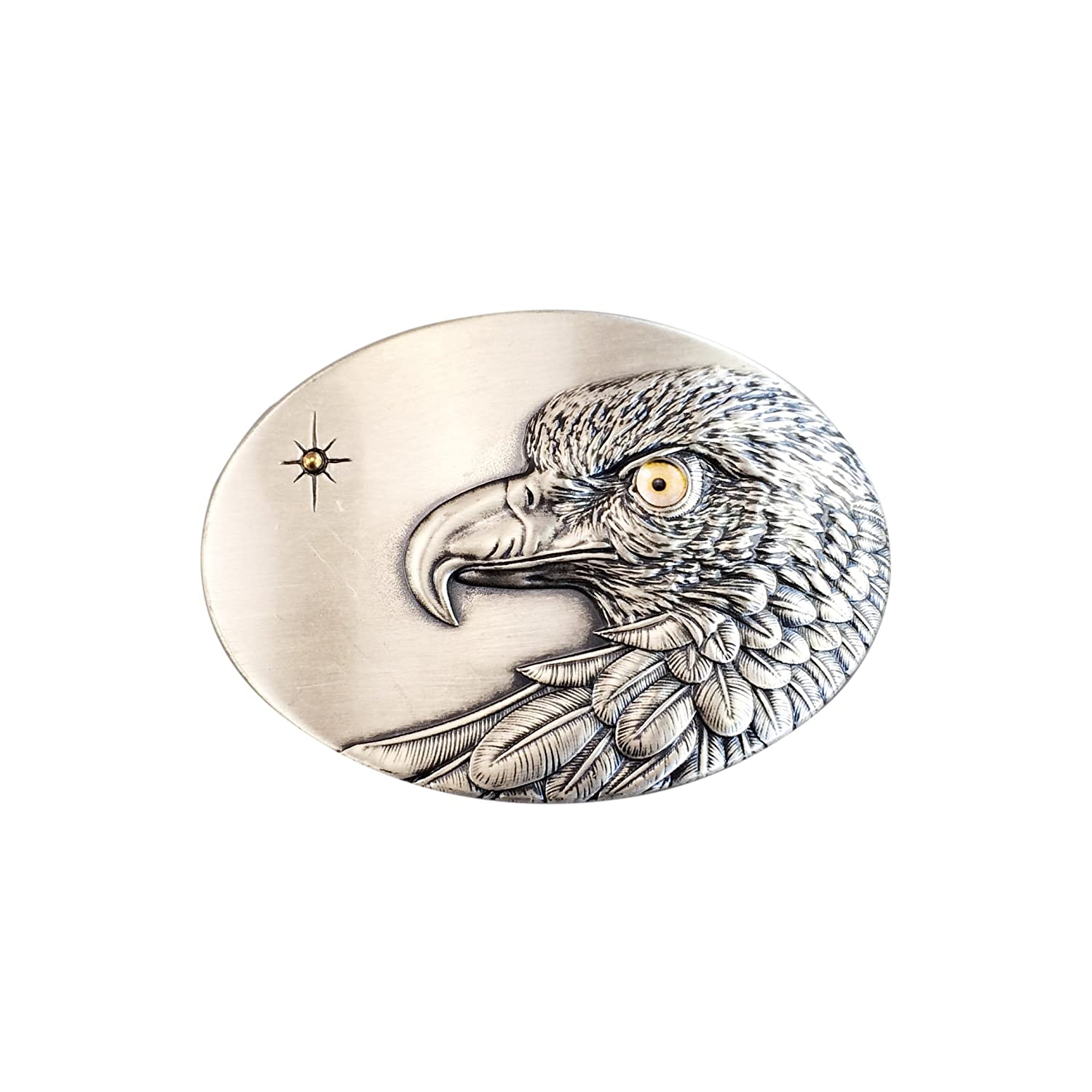 New Original Vintage Silver Plated Oval Sun Eagle Belt Buckle