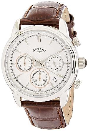 rotary men s quartz watch white dial chronograph display and rotary men s quartz watch white dial chronograph display and brown leather strap gs02876 06