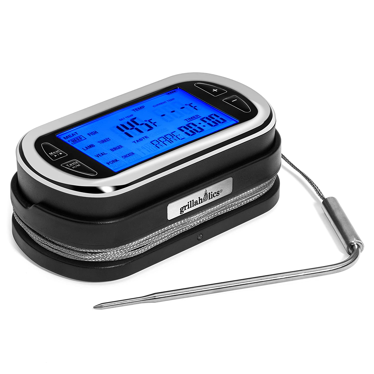 Grillaholics BBQ Grill Meat Thermometer - Remote Wireless Digital Meat Cooking Thermometer for Grilling, BBQ, Oven & Smokers - 200 Foot Range - Lifetime Manufacturers Warranty