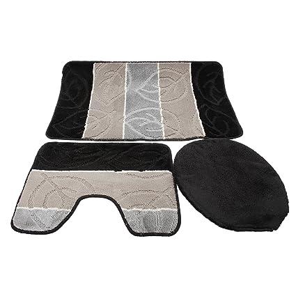 Amazon.com: 3 Piece Leaf Design Bath / Pedestal Bathroom Mat ... on leaf design curtains, leaf design sheets, leaf design furniture, leaf design rugs,
