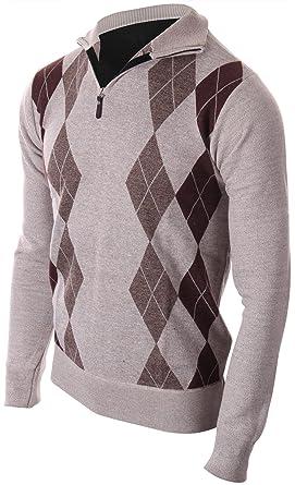 08ed0f3e5ea6 Enimay Mens Argyle Zip Up Golf Long Sleeve Zipper Sweater at Amazon ...