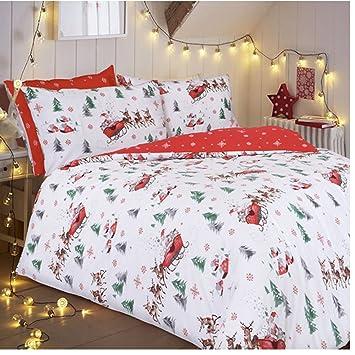 Bettwäsche Set Für Weihnachten Mit Motiv Weihnachtsmann Schlitten