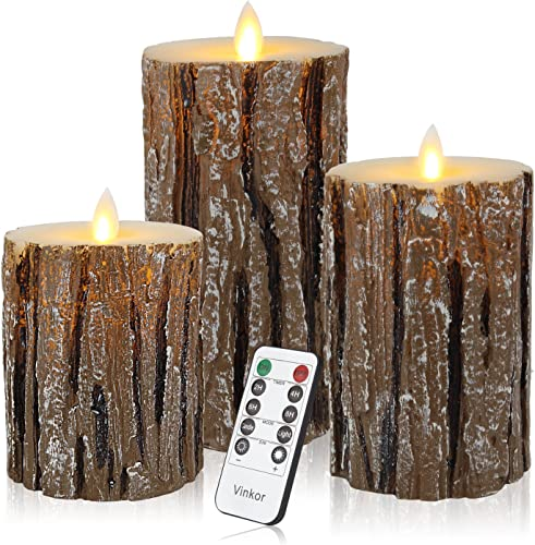 Vinkor Flameless Candles Flickering Candles Decorative Battery Flameless Candle Classic Real Wax Pillar with Dancing LED Flame 10-Key Remote Control 2 4 6 8 Hours Timers Birch Effect