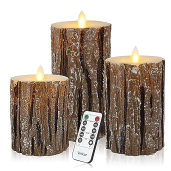 Batteriebetriebene Kerzen Mit Beweglicher Flamme.Led Kerzen Mit Beweglicher Flamme Echt Flammen Effekt Led Echtwachskerzen Birkenstämme Mit 10 Key Fernbedienung Und Timer Klassische Stumpenkerze