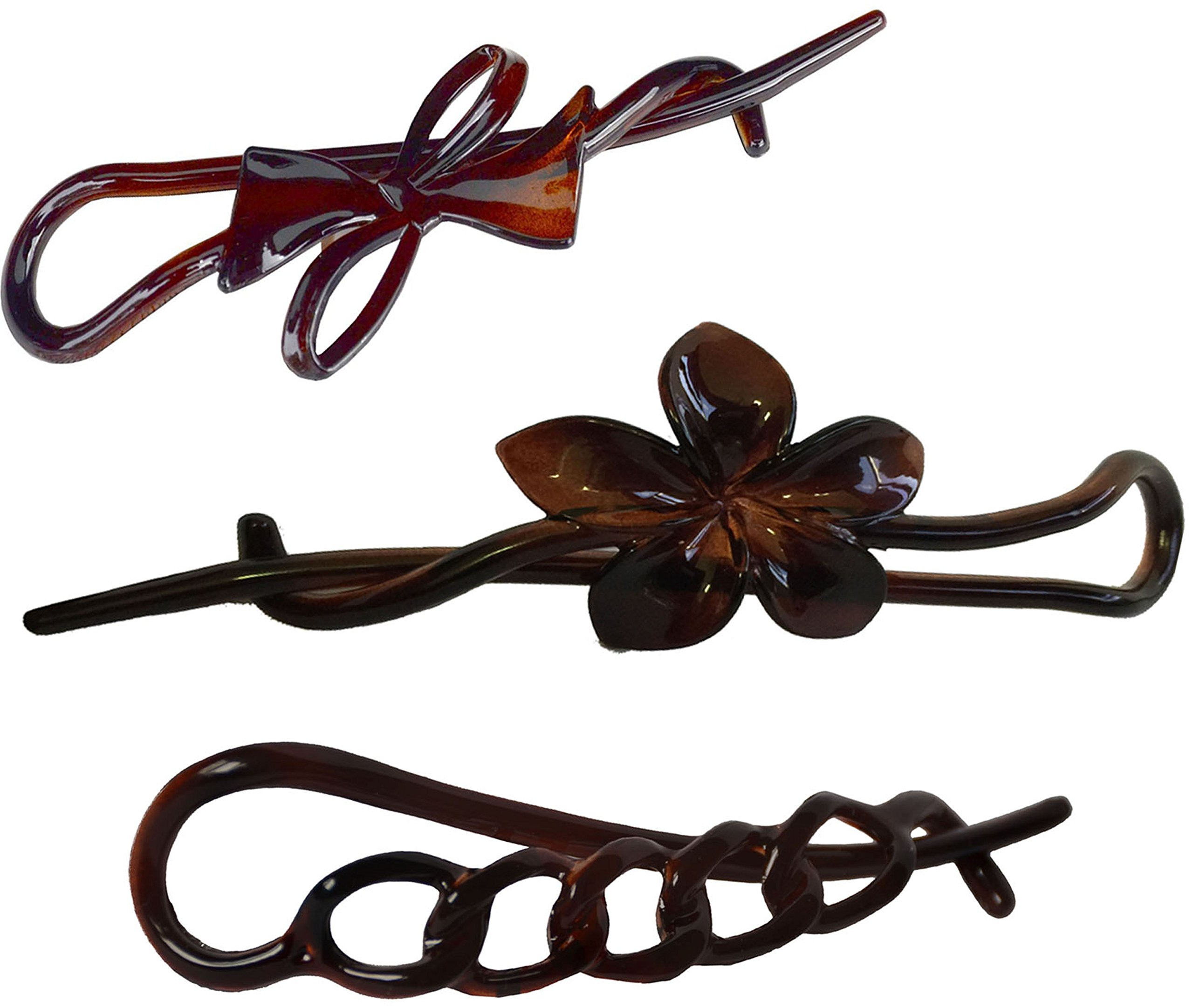 Parcelona French Twist N Clip (Set of 3) Flower, Bow and Chain Celluloid Hair Clip Barrette