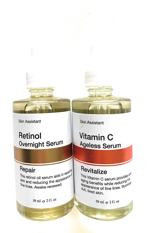 Bundle of Skin Assistant - Retinol Overnight Repair Serum & Vitamin C Ageless Revitalize Serum 59 ml/2 fl oz each