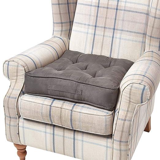 HOMESCAPES Cojín Elevador para sillón, Relleno de poliéster y tapizado en 100% algodón Aterciopelado, 50 x 50 x 10 cm Color Negro