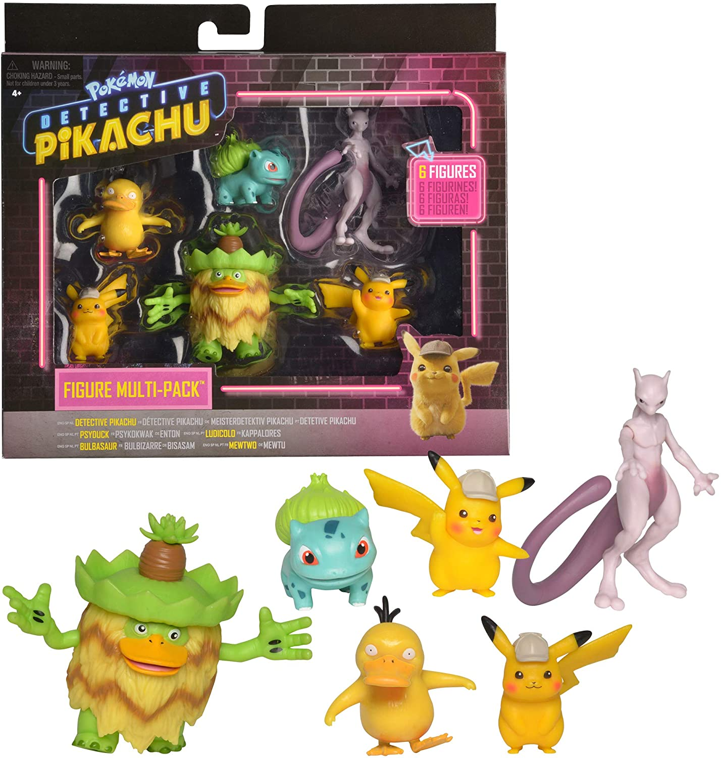 Amazon Com Pokemon Detective Pikachu Battle Figure 6pc Multi Pack Comes With Two 2 Pikachu 2 Psyduck 2 Bulbasaur 3 Mewtwo 3 Ludicolo Toys Games