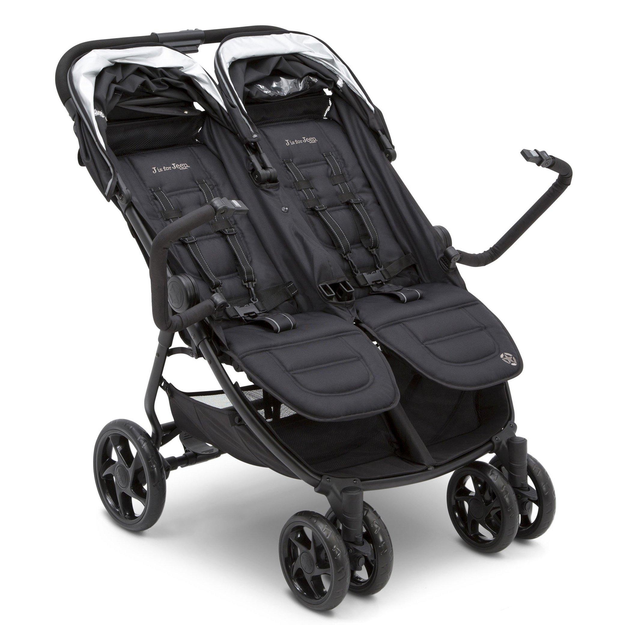 Jeep Destination Ultralight Side x Side Double Stroller, Midnight (Black) by Delta Children (Image #2)