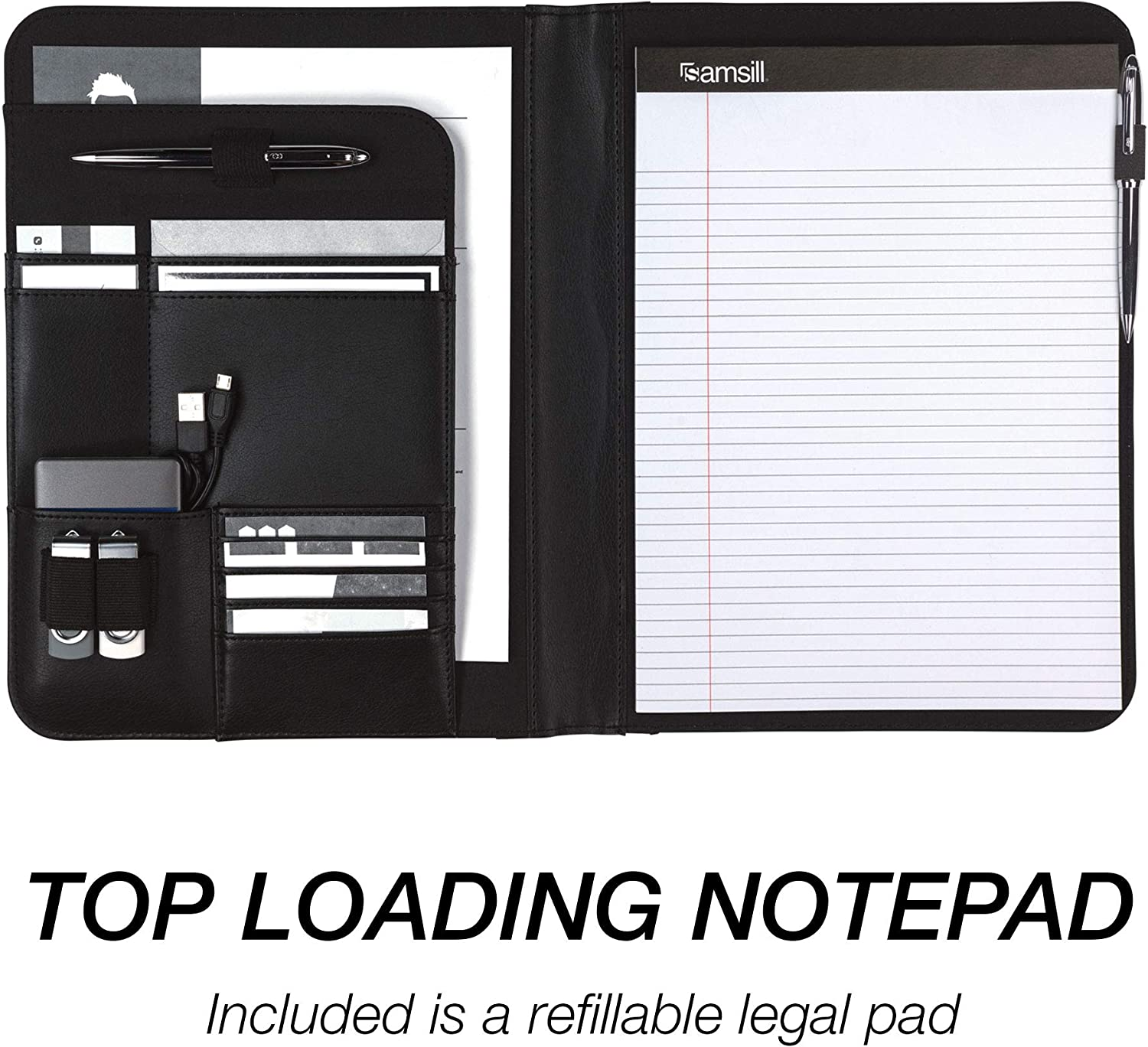 Resume Portfolio//Business Portfolio with Secure Zippered Closure Expandable Document Organizer /& Writing Pad Black 10.1-inch Tablet Sleeve Samsill Executive Padfolio with Spine Accent