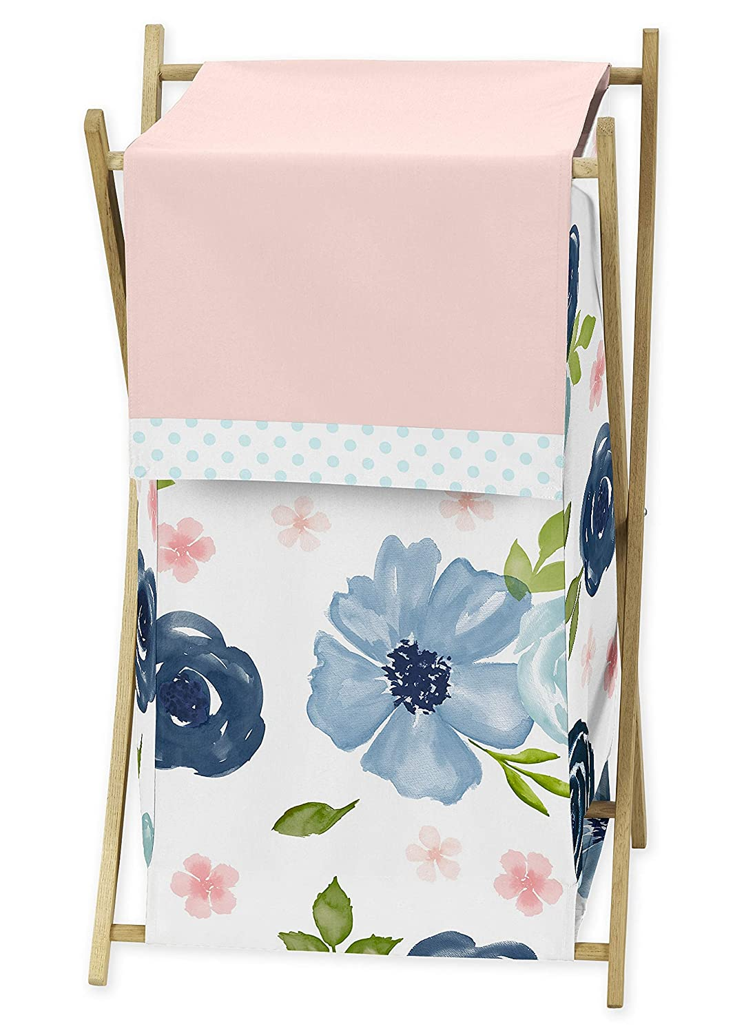 Sweet Jojo Designs Navy Blue and Pink Watercolor Floral Baby Kid Clothes Laundry Hamper - Watercolor Floral Shabby Chic Rose Flower Collection