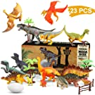 WOSTOO Dinosaur Toys Set, 23pcs Educational Dinosaur Toys Playset Realistic Dinosaur Figures Jurassic World Dinosaurs Toy Includes Trees,Dinosaur Eggs, Fence Kit for Boys Grils Kids Toddlers